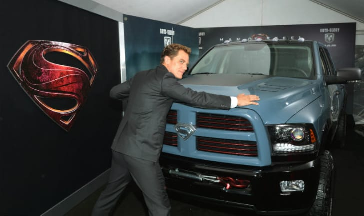 Michael Shannon stands in front of a truck at the 'Man of Steel' premiere