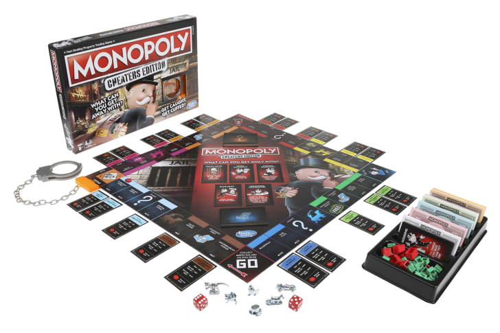The board and cards for 'Monopoly: Cheaters Edition'