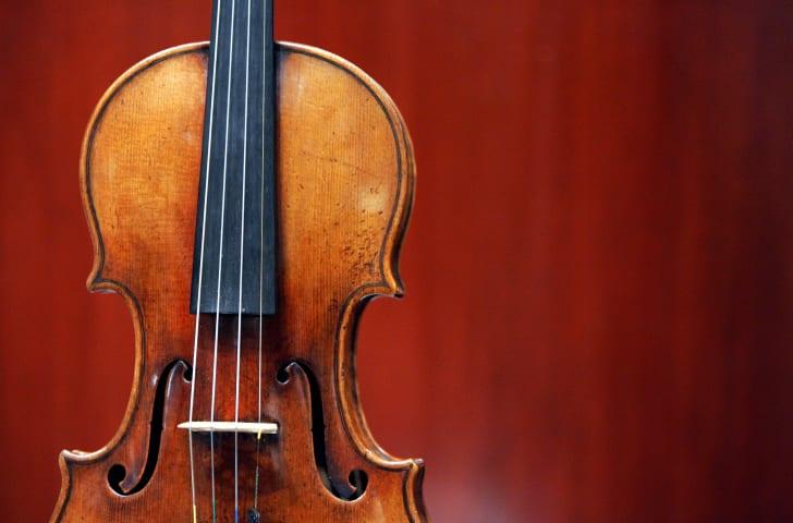 A 1729 Stradivari known as the 'Solomon, Ex-Lambert' on display.