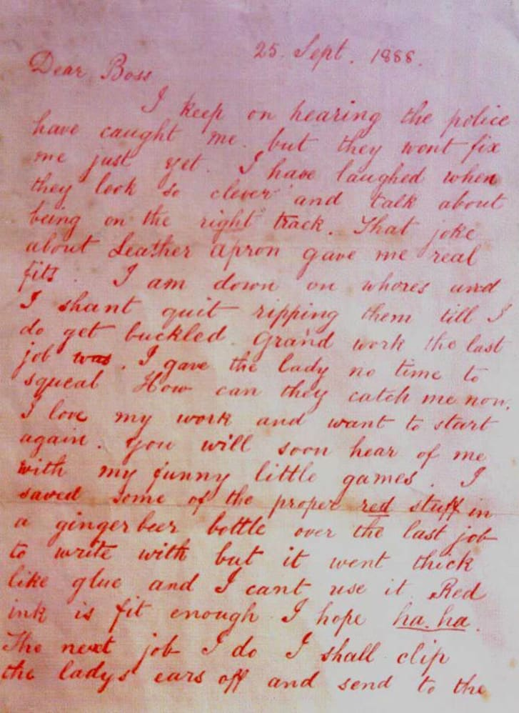 Letter written in red ink