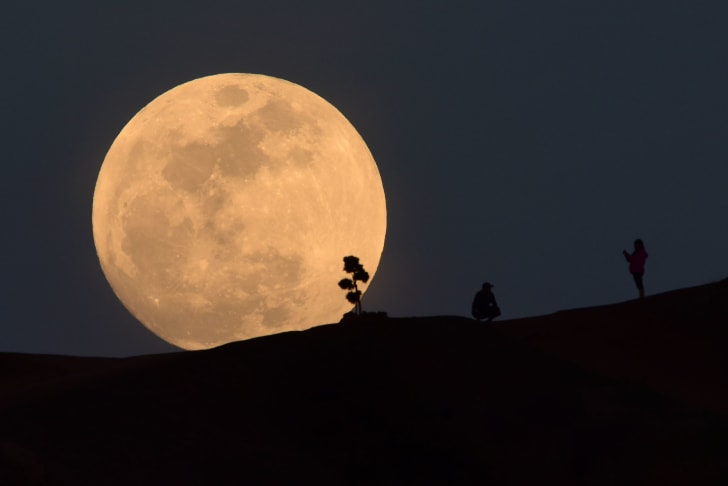 A person poses for a photo as the moon rises over Griffith Park in Los Angeles, California, on January 30, 2018.