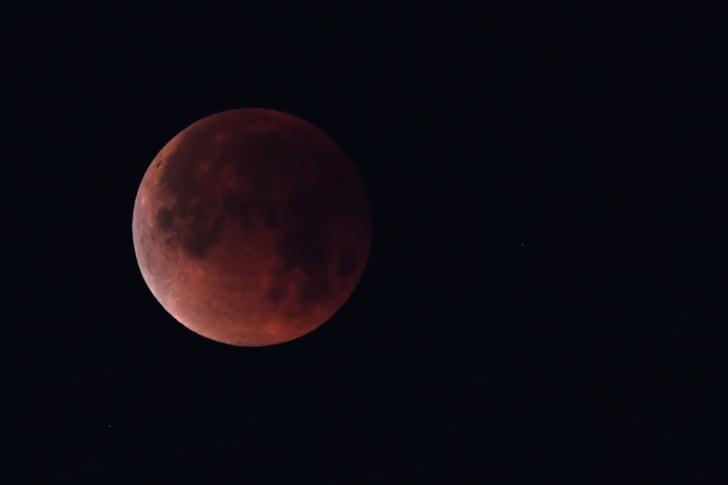 The 'super blue blood moon' is seen over Los Angeles, California, on January 31, 2018.