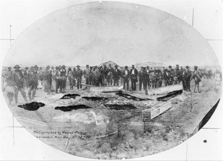 An 1873 photo of the Bender murder graves in Labette County, Kansas