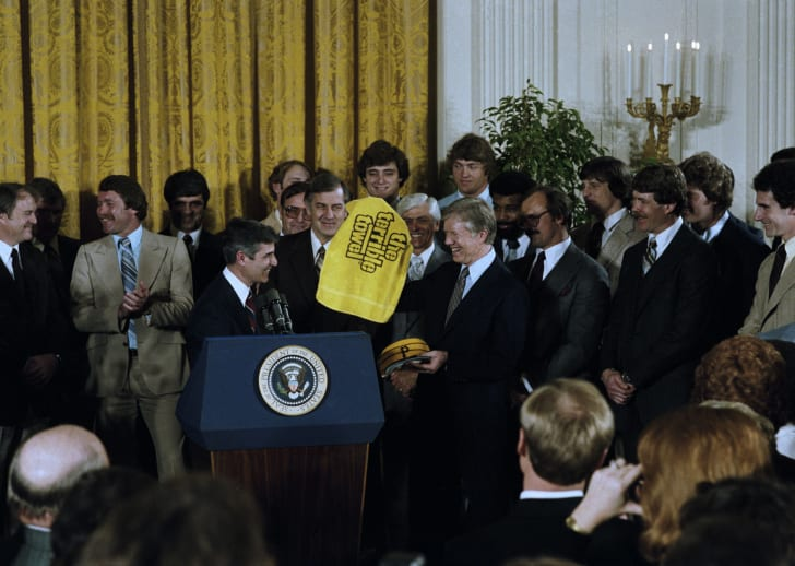 Jimmy Carter welcomed the Pittsburgh Steelers, 1980