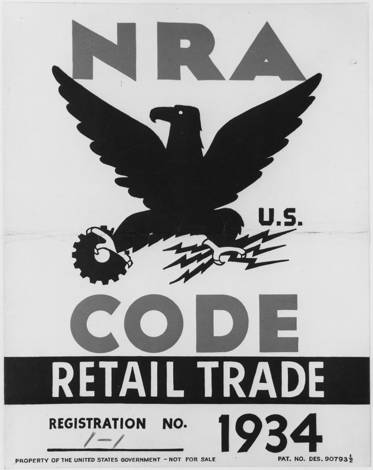 NRA eagle poster displayed by businesses to show support for government program - NARA