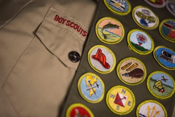 Close-up of a Boy Scout uniform.