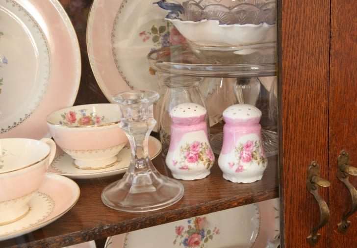Beautiful Antique China and glassware in old cabinet