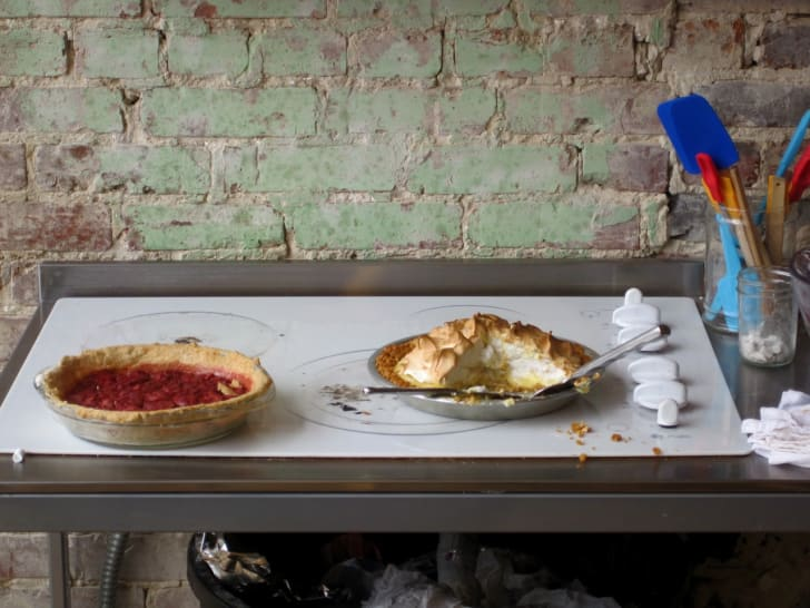 Two pies on a table at Pie Lab.