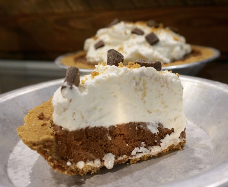 A slice of s'mores pie.