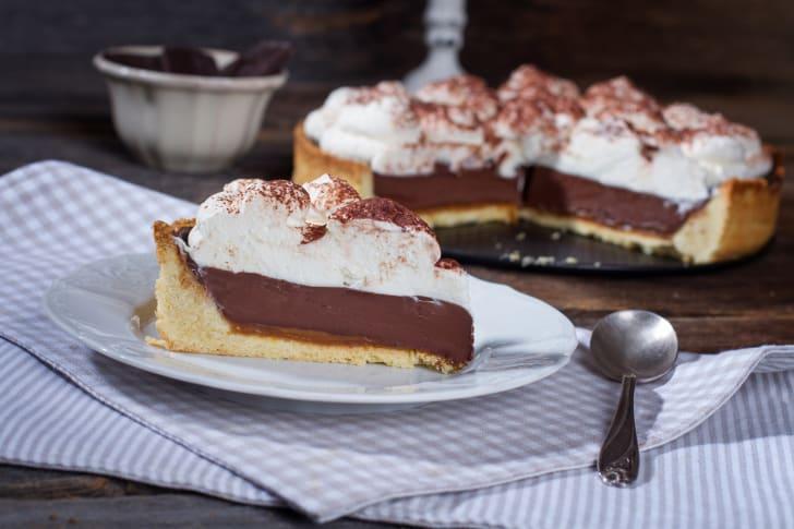 Slice of chocolate mousse pie.