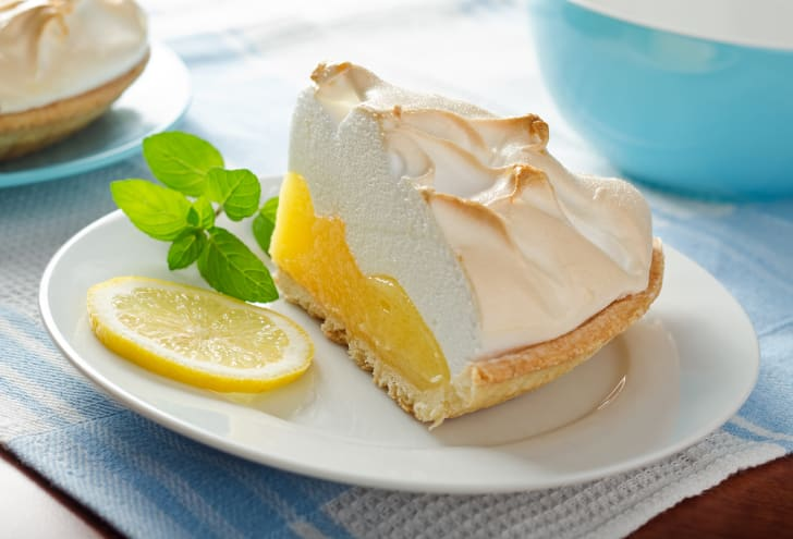 Slice of lemon meringue pie.