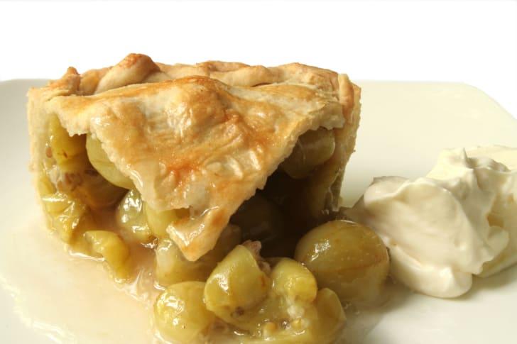 Slice of gooseberry pie.