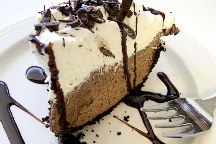 A slice of chocolate whip pie.