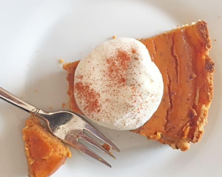 A slice of sweet potato pie.