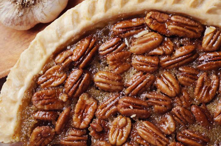 Close-up of pecan pie.