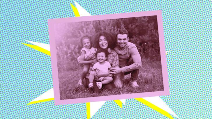 Photo illustration of a family photo.