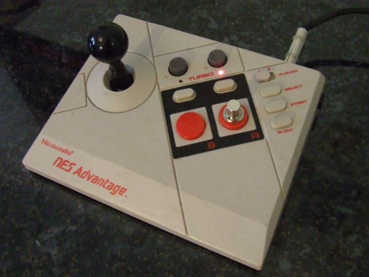 A Nintendo Advantage controller is used as a guitar pedal
