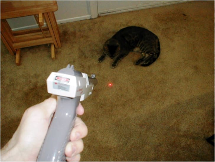 A Nintendo Zapper accessory shines a laser on the floor