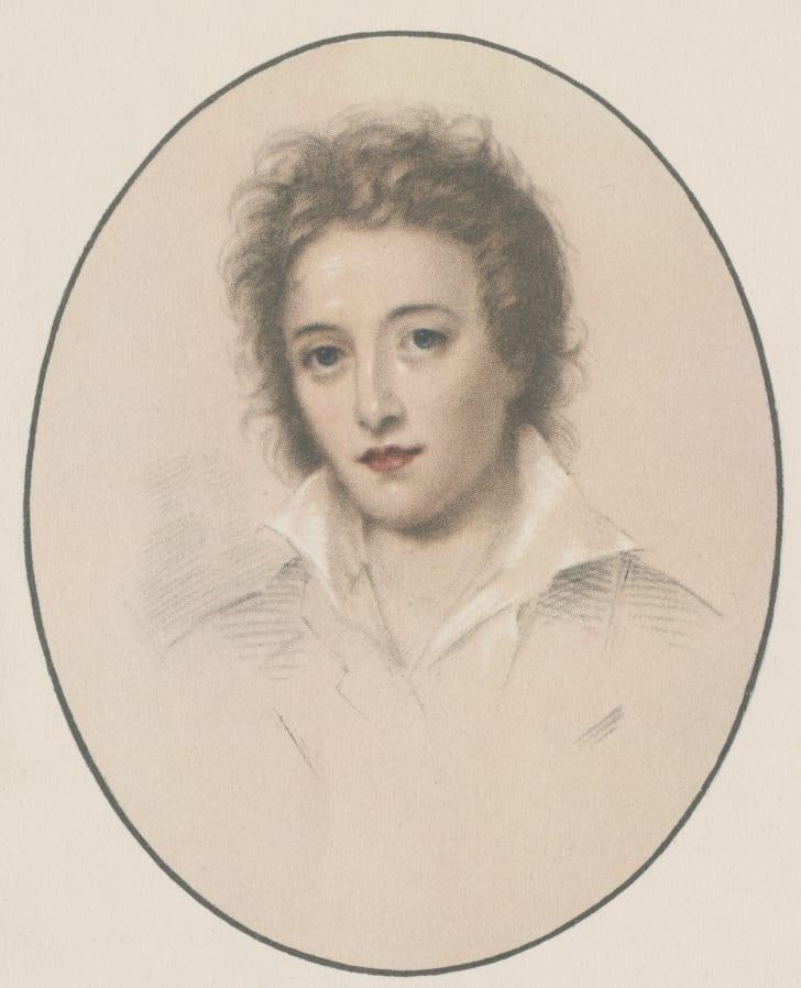 Crayon drawing of poet Percy Shelley circa 1820