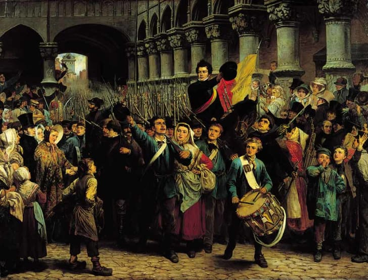 A painting by Charles Soubre of the Belgian Revolution