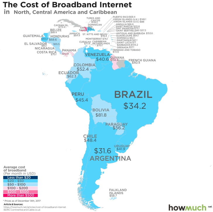 Map of Internet costs in each country created by information site HowMuch.net.