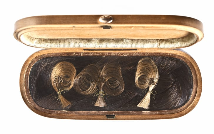 """Woven hair culled from the collection of Jennifer Berman and featured in the Mütter Museum's """"Woven Strands"""" exhibition."""