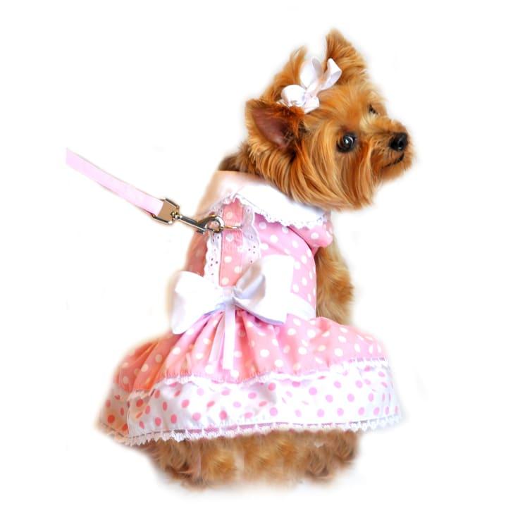 Pink Polka Dot and Lace Designer Dog Harness Dress