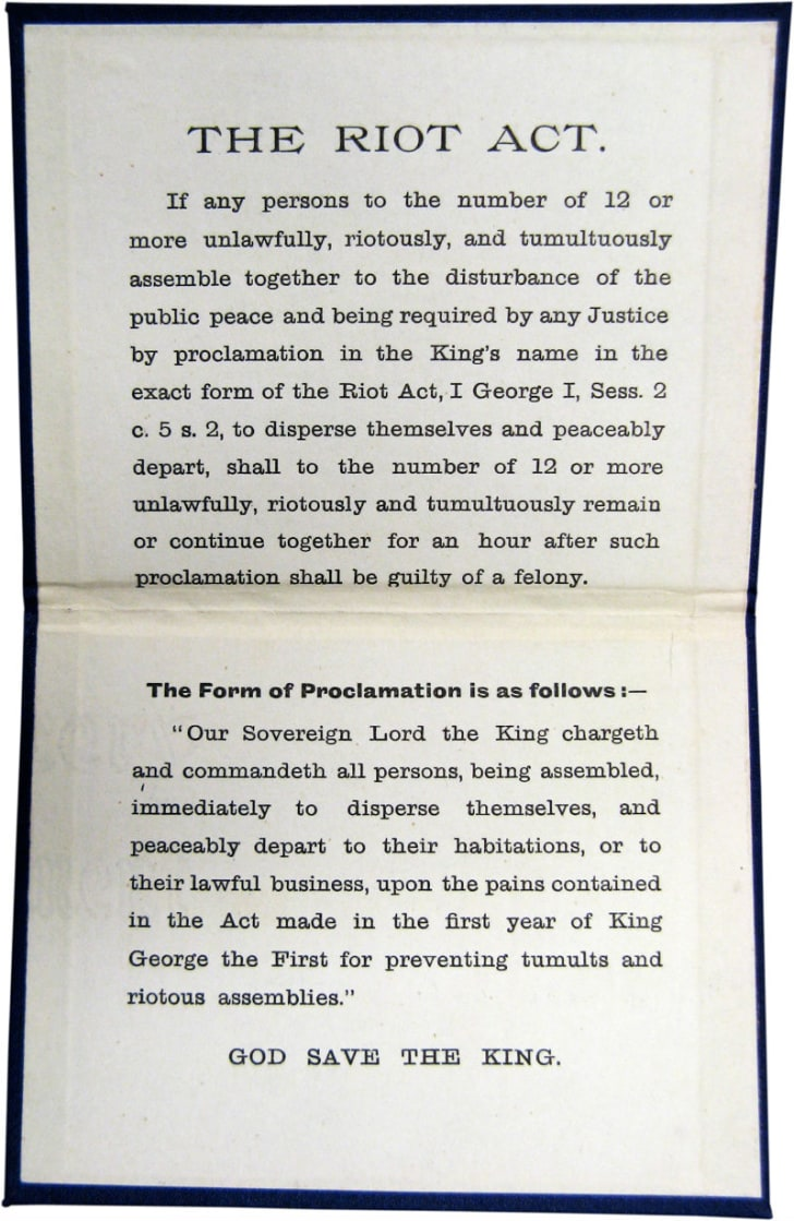 A copy of language appearing in the Riot Act