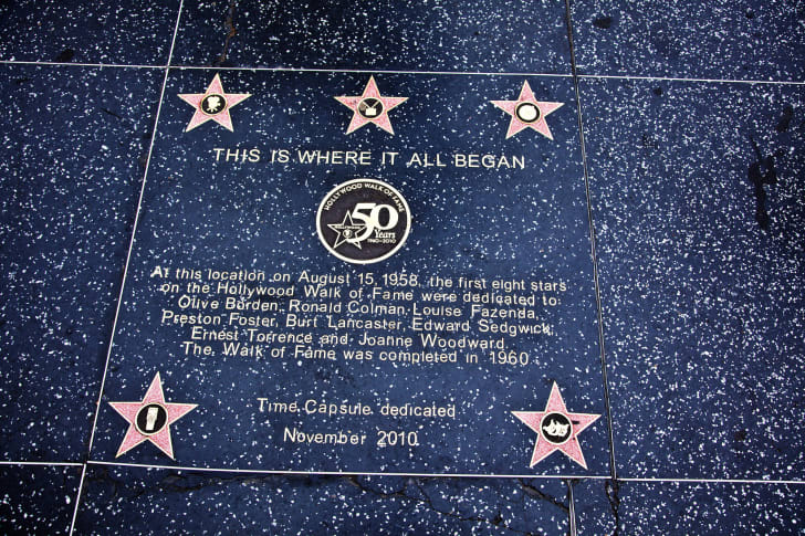 Photo of a time capsule on the Hollywood Walk of Fame