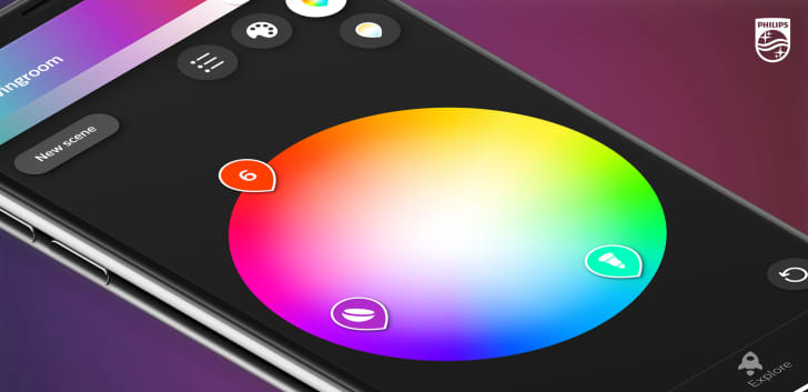 A cell phone open to an app that shows a color wheel