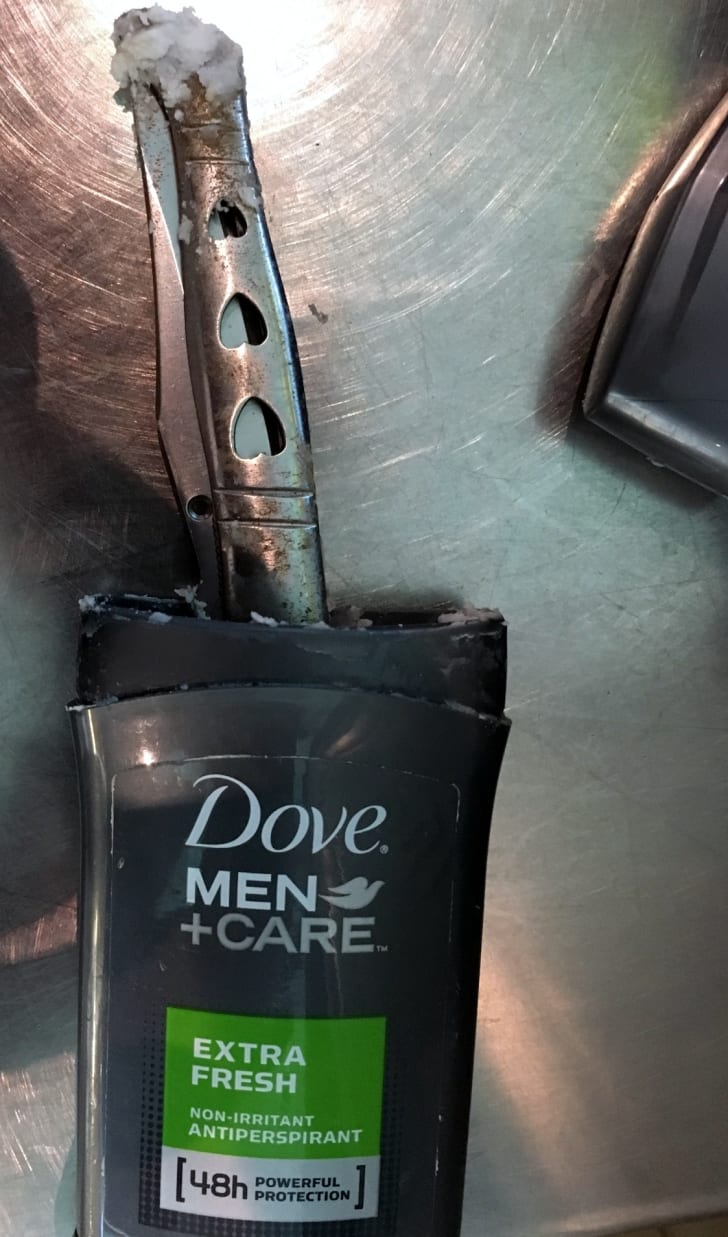A knife hidden inside a deodorant container, discovered by the TSA in 2017