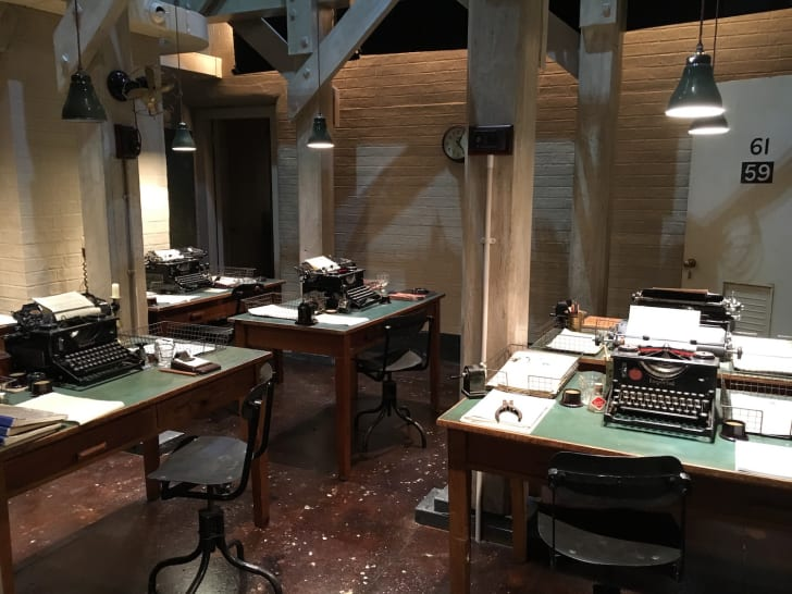 The recreated typists' bay of Churchill's War Rooms