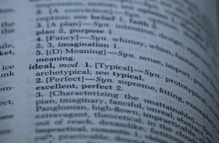 Close-up of the term 'ideal' in a thesaurus.