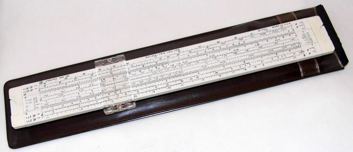 Image of a vintage log log slide rule.
