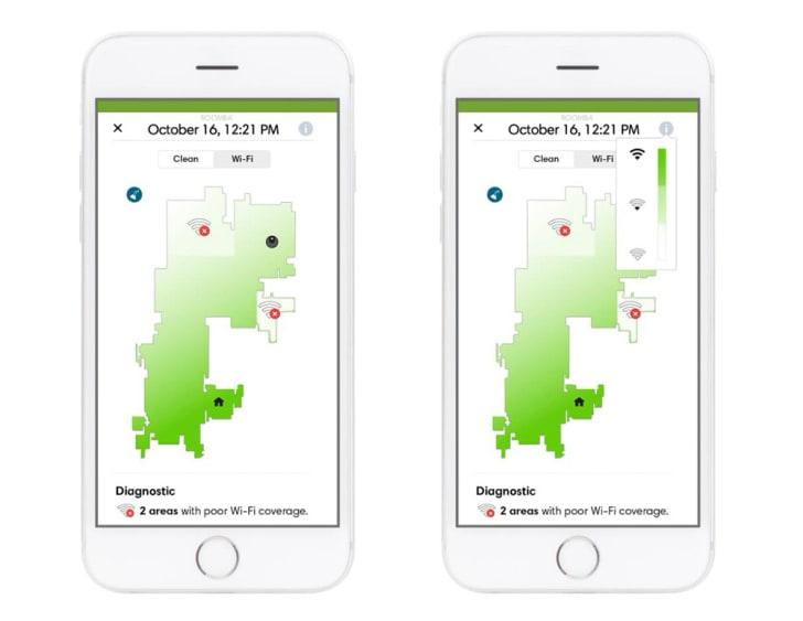 Screenshots of the iRobot app's WiFi mapping