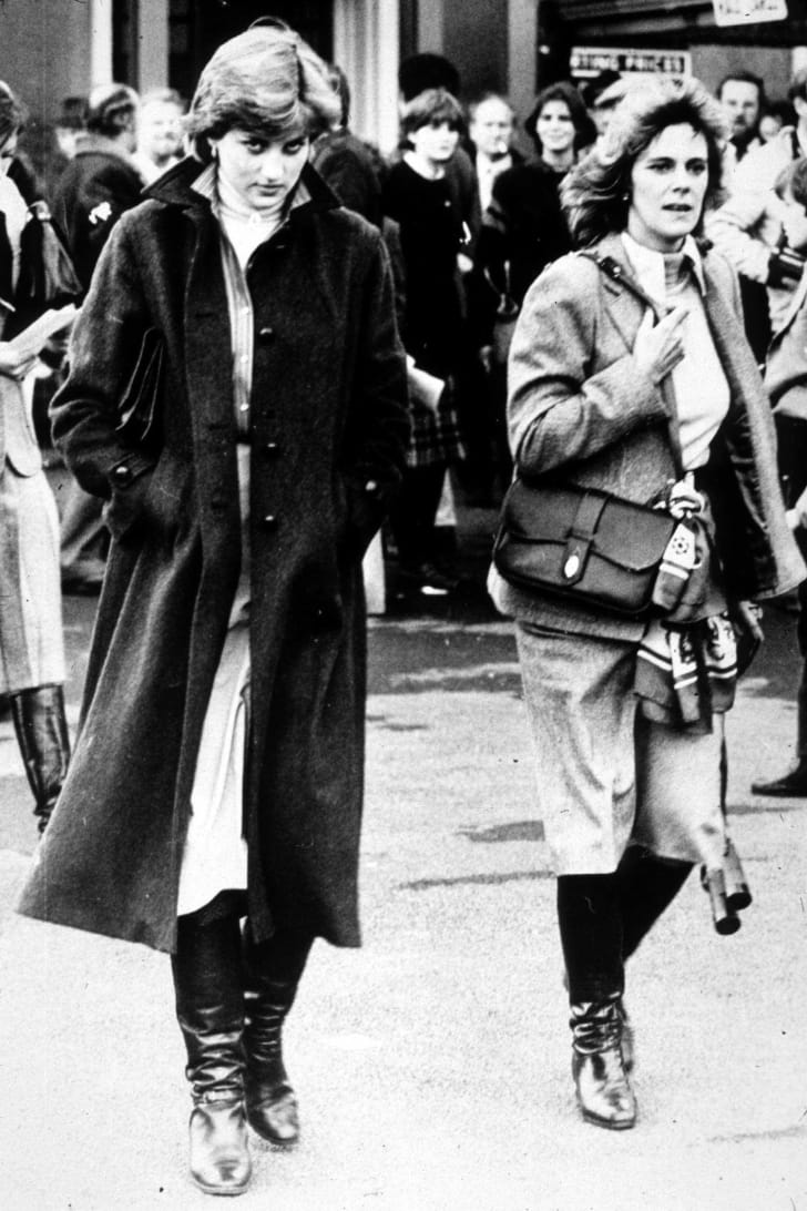 Lady Diana Spencer and Camilla Parker-Bowles at Ludlow Races where Prince Charles is competing, 1980