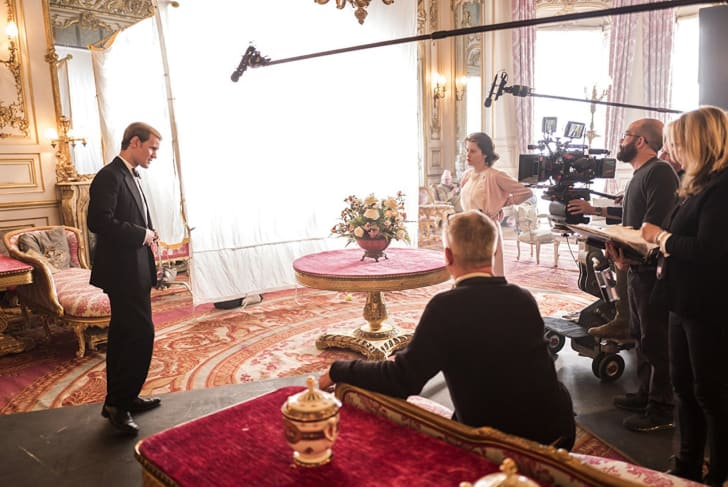 Matt Smith and Claire Foy film a scene for 'The Crown'