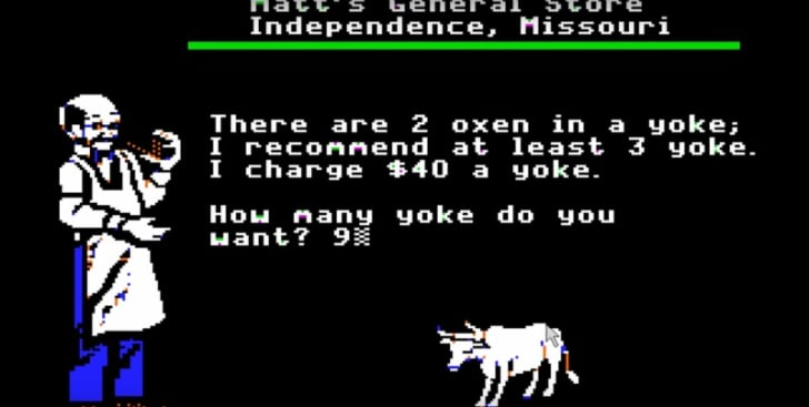 A screen shot from 'The Oregon Trail'