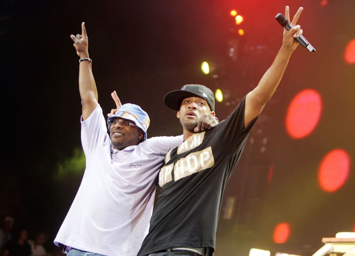 ctor Will Smith (R) and DJ Jazzy Jeff perform at 102.7 KIIS-FM's 8th Annual Wango Tango 2005 at Angel Stadium on May 14, 2005 in Anaheim, California