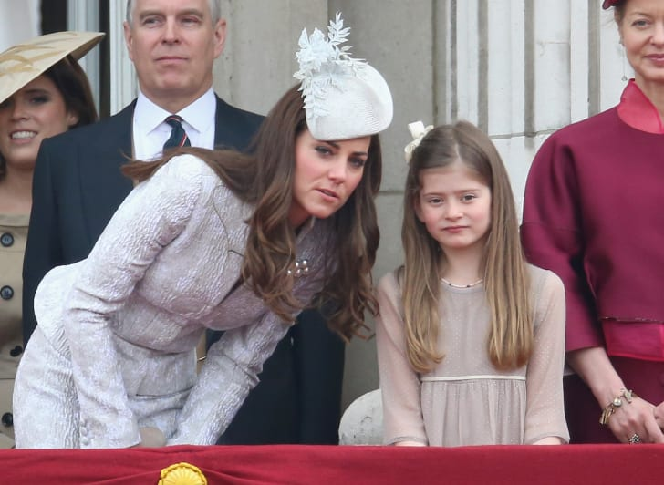 Catherine, Duchess of Cambridge chats to Estella Taylor on the balcony during Trooping the Colour - Queen Elizabeth II's Birthday Parade, at The Royal Horseguards on June 14, 2014 in London, England