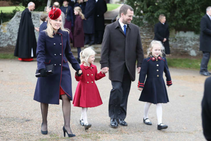 Autumn Phillips, Isla Phillips, Peter Philips and Savannah Phillips attend Christmas Day Church service at Church of St Mary Magdalene on December 25, 2017 in King's Lynn, England