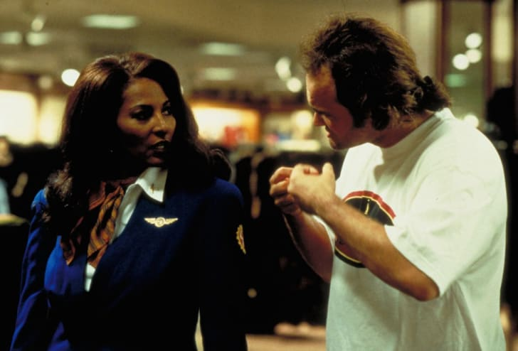 Pam Grier and Quentin Tarantino on the set of 'Jackie Brown' (1997)