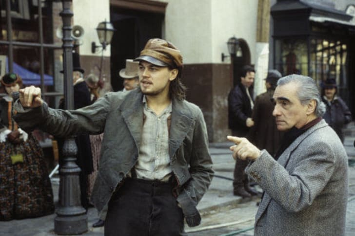 Leonardo DiCaprio and Martin Scorsese on the set of 'Gangs of New York' (2002)
