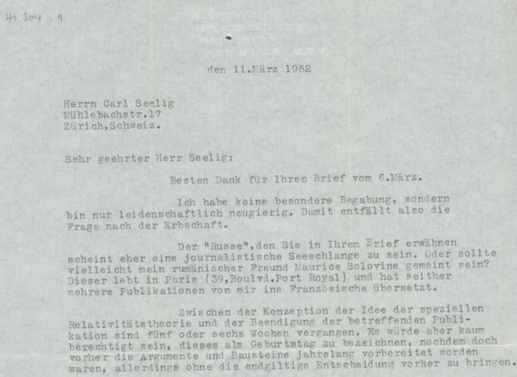 einstein letter to seelig 1952