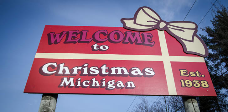 A sign reads 'Welcome to Christmas, Michigan.'