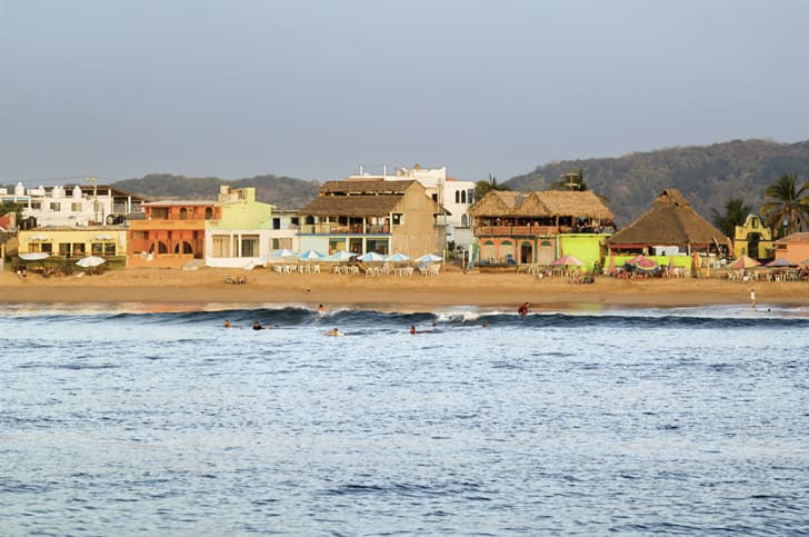 A view from offshore of a beach in Barra de Navidad, Mexico.
