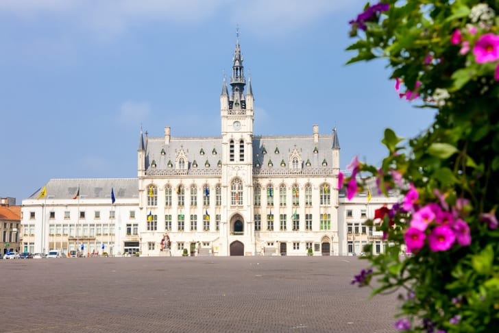 The town hall of Sint-Niklaas, Belgium seen from afar
