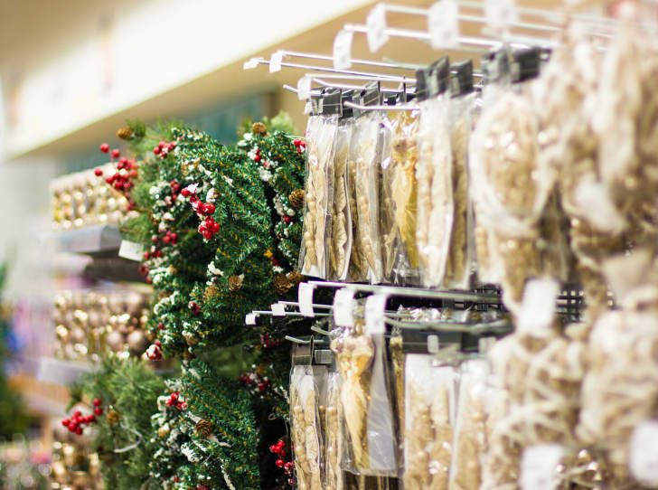 Christmas decorations for sale in a store