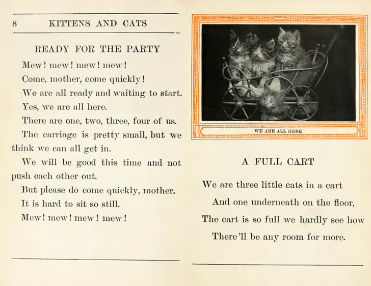 A spread from 'Kittens and Cats' features an image of kittens sitting together in a toy cart.
