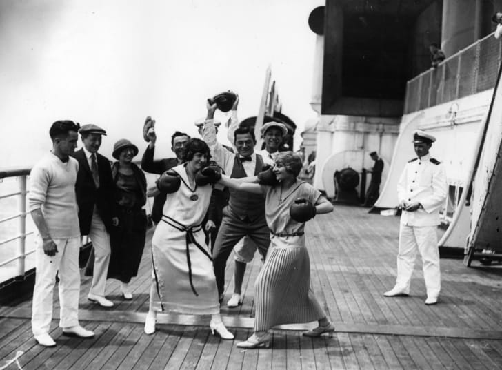 Women boxing on a ship, 1923.